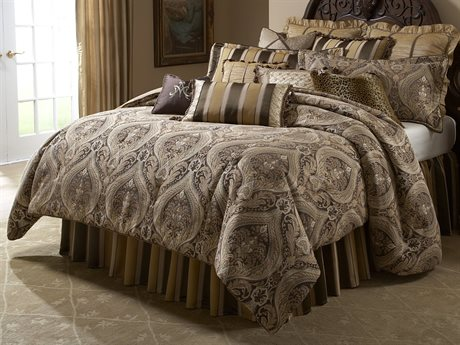 Aico Furniture Michael Amini Lavelle Lucerne Gold 13-Piece King Comforter Set AICBCSKS13LUCERNGLD