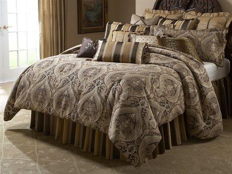 Aico Furniture Michael Amini Lavelle Lucerne Gold 12-Piece Queen Comforter Set AICBCSQS12LUCERNGLD