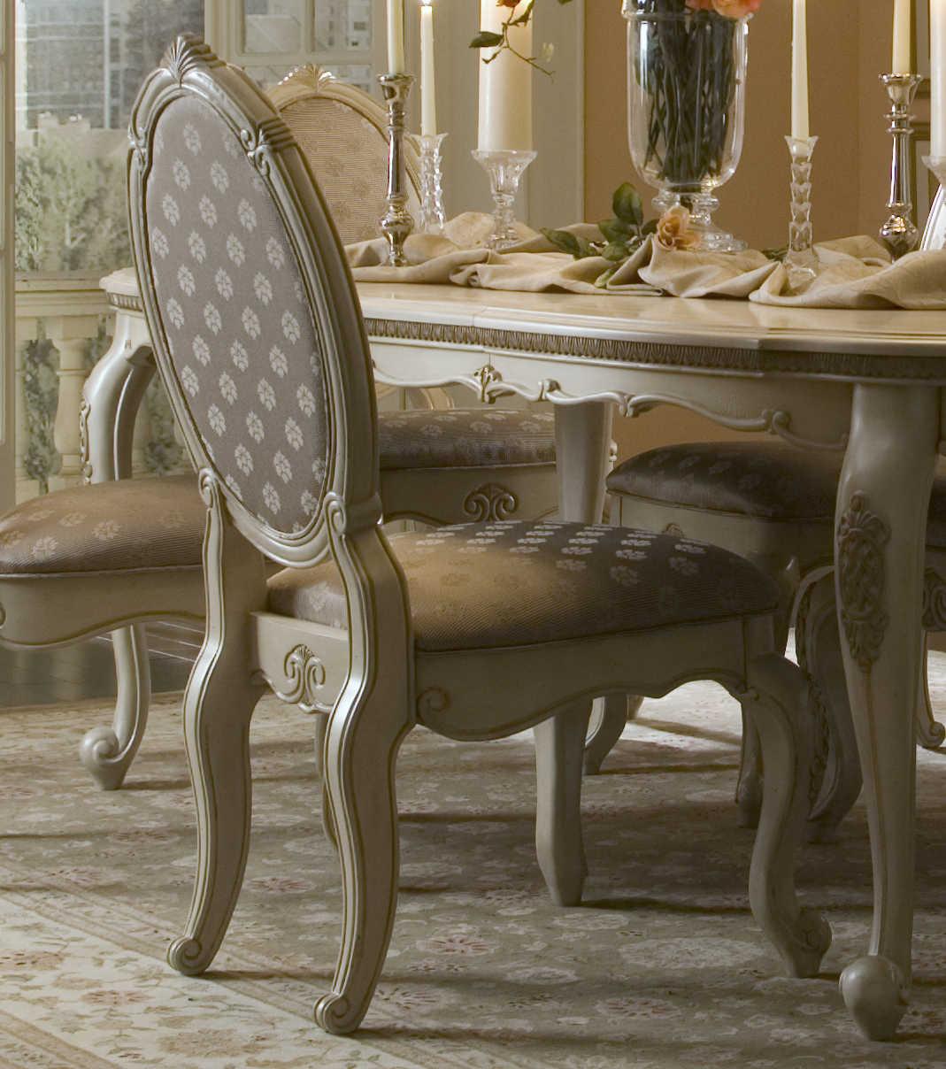 Aico Furniture Michael Amini Lavelle Blanc Dining Side Chair