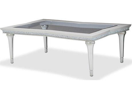 Aico Furniture Michael Amini Melrose Plaza Glass / Dove 54''W x 34''D Rectangular Cocktail Table