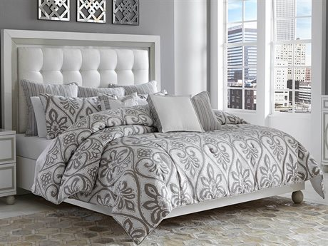 Aico Furniture Michael Amini Melrose Park Gray Ten-Piece King Comforter Set AICBCSKS10MLRSPGRY