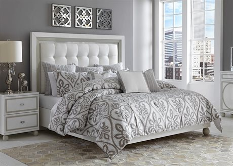 Aico Furniture Michael Amini Melrose Park Gray Nine-Piece King Comforter Set AICBCSQS09MLRSPGRY