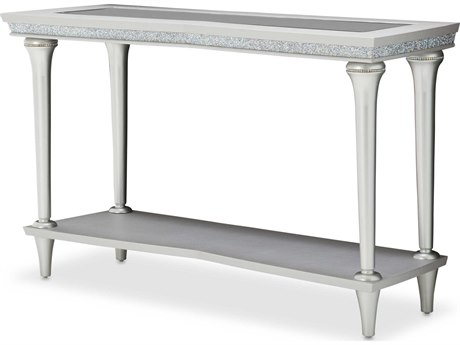 Aico Furniture Michael Amini Melrose Plaza Glass / Dove 54''W x 18''D Rectangular Console Table AIC9019223118