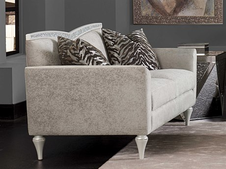 Aico Furniture Michael Amini Melrose Plaza Dove Grey V-Back Loveseat AIC9019825DVGRY118