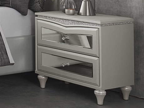 Aico Furniture Michael Amini Melrose Plaza Dove Two-Drawer Nightstand AIC9019040118
