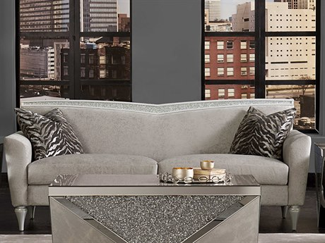 Aico Furniture Michael Amini Melrose Plaza Dove Grey V-Back Sofa AIC9019815DVGRY118