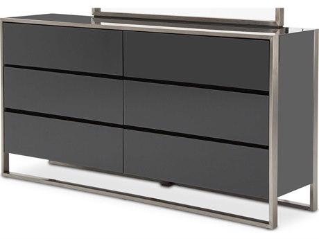 Aico Furniture Michael Amini Metro Lights Black Six-Drawer Double Dresser AIC9010050809