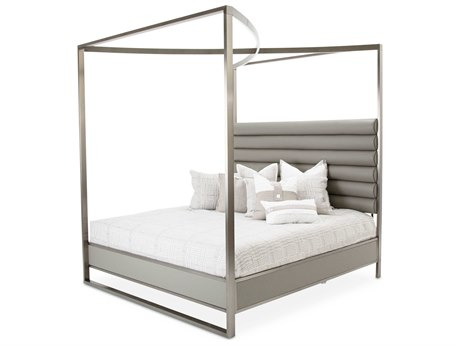 Aico Furniture Michael Amini Metro Lights Gray / Black Nickel Queen Size Poster Bed AIC9010000QN809