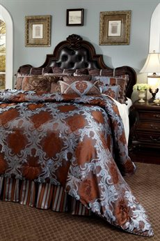 Aico Furniture Michael Amini Monte Caroll Bellingham Court Chocolate Ten-Piece Queen Comforter Set AICBCSQS12BELLINGCHO