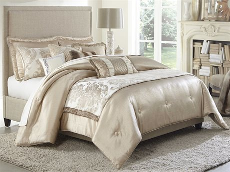 Aico Furniture Michael Amini Palermo Sand Ten-Piece King Comforter Size AICBCSKS10PLRMOSAN