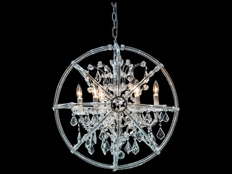 Aico Furniture Michael Amini Pena Chrome / Clear Six-Light 26'' Wide Chandelier AICLTCH9206CLR