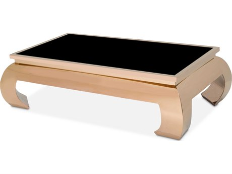 Aico Furniture Michael Amini Pietro Black Tempered Glass / Rose Gold 56''W x 32''D Rectangular Coffee Table