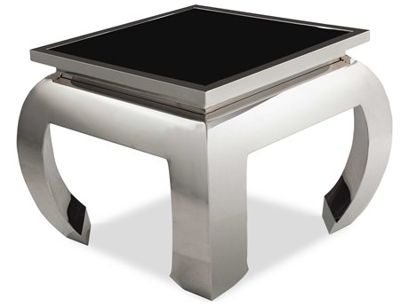 Aico Furniture Michael Amini Pietro Black Tempered Glass / Stainless Steel 28'' Wide Square End Table AICFSPITRO202