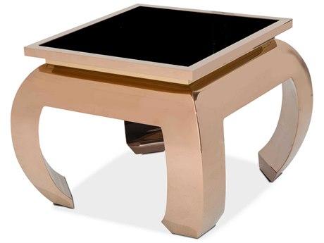 Aico Furniture Michael Amini Pietro Black Tempered Glass / Rose Gold 28'' Wide Square End Table AICFSPITRO202801