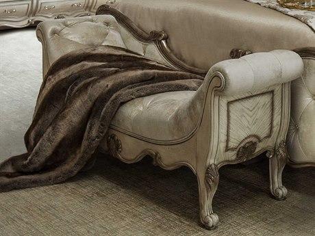 Aico Furniture Michael Amini Platine De Royale Champagne / Antique Platinum Accent Bed Bench AIC09904201