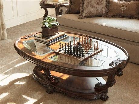 Aico Furniture Michael Amini Platine De Royale Light Espresso 60''W x 38''D Oval Cocktail Table AIC09201229