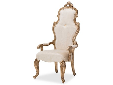 Aico Furniture Michael Amini Platine De Royale Champagne / Antique Platinum Dining Arm Chair AIC09244201