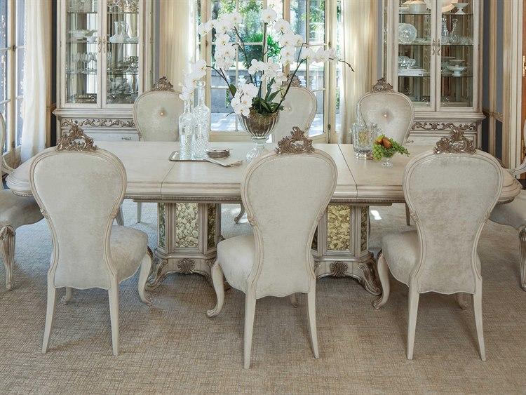 Aico Furniture Michael Amini Platine De Royale Champagne / Antique Platinum  88-136\'\'W x 48\'\'D Rectangular Dining Table with Extension