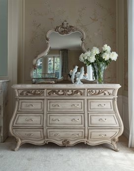 Aico Furniture Michael Amini Platine De Royale Champagne / Antique Platinum Triple Dresser with Dresser Mirror Set AIC09050R201SET