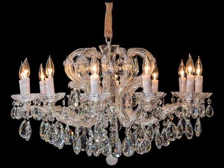 Aico Furniture Michael Amini Portola Silver / Clear 12-Light 31'' Wide Chandelier AICLTCH92312SVL