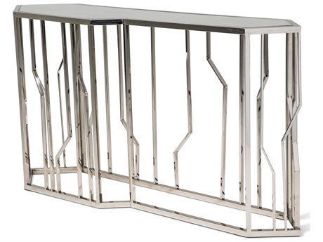 Aico Furniture Michael Amini Reflections Mirrored, Stainless Steel 64''W x 17''D Rectangular Console Table