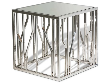 Aico Furniture Michael Amini Reflections Mirrored, Stainless Steel 24'' Wide Square End Table