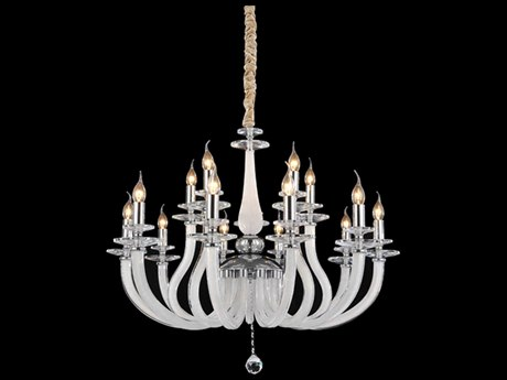 Aico Furniture Michael Amini San Marco Chrome / Opal 15-Light 37'' Wide Chandelier AICLTCH90715OPL