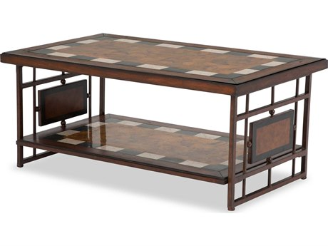 Aico Furniture Michael Amini Sao Paulo Penshell Stone Inlay / Brass 48''W x 26''D Rectangular Coffee Table AICFSSOPLO201