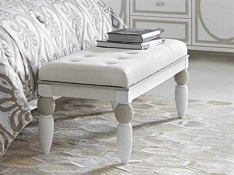 Aico Furniture Michael Amini Sky Tower White Cloud Accent Bedside Bench AIC9025694108