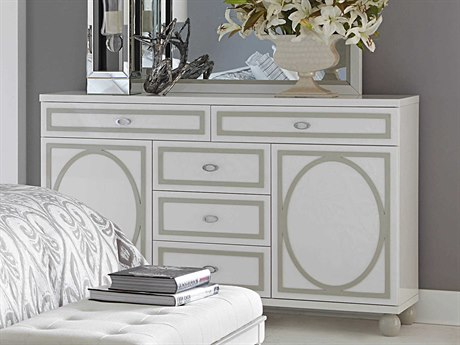Aico Furniture Michael Amini Sky Tower White Cloud Five-Drawer Double Dresser AIC9025650108