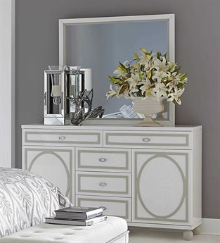 Aico Furniture Michael Amini Sky Tower White Cloud Double Dresser with Dresser Mirror Set AIC9025650108SET