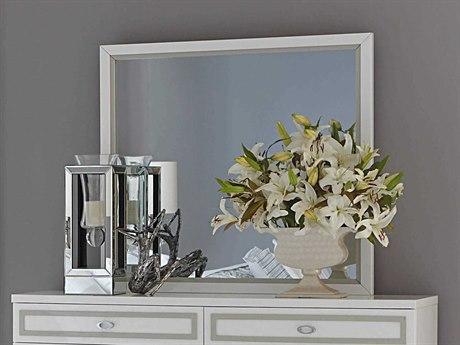 Aico Furniture Michael Amini Sky Tower White Cloud 42''W x 39''H Rectangular Dresser Mirror AIC9025660108