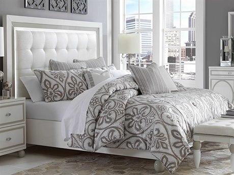 Aico Furniture Michael Amini Sky Tower White Cloud Queen Size Platform Bed AIC9025600QN108