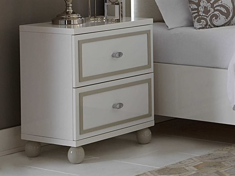 Aico Furniture Michael Amini Sky Tower White Cloud Two-Drawer Nightstand AIC9025640108