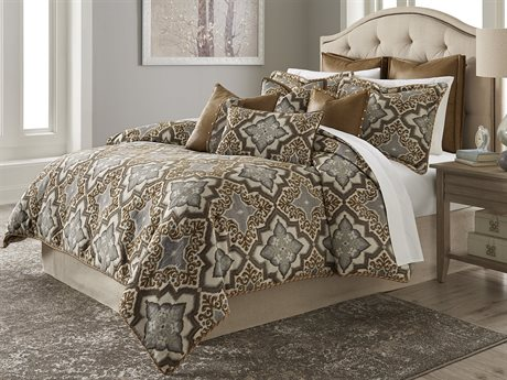 Aico Furniture Michael Amini Tangier Coast Porter Saddle Nine-Piece Queen Comforter Set AICBCSQS09PORTRSADL