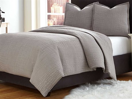 AICO Furniture Trent Coverlets Duvets AICBCSQD03TRENTGRY