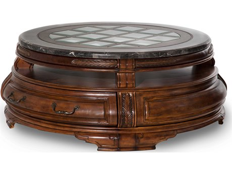 Aico Furniture Michael Amini Tuscano Melange 58'' Wide Round Cocktail Table with Drawer AIC3420434