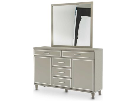 Aico Furniture Michael Amini Urban Place Dove Grey Double Dresser with Dresser Mirror Set AIC9027650803SET