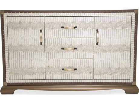 Aico Furniture Michael Amini Valise Amazon Tan Gator Vinyl Sideboard AIC9026607110