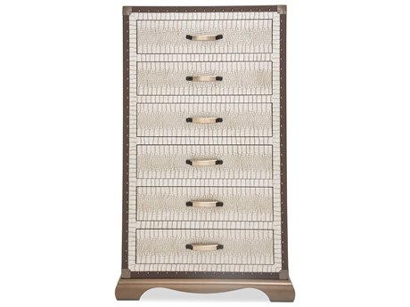 Aico Furniture Michael Amini Valise Amazon Tan Gator Vinyl Six-Drawer Chest of Drawer AIC9026670110