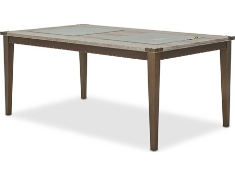 Aico Furniture Michael Amini Valise Amazon Tan Gator Vinyl 72-96''W x 43''D Rectangular Dining Table with Extension AIC9026600110