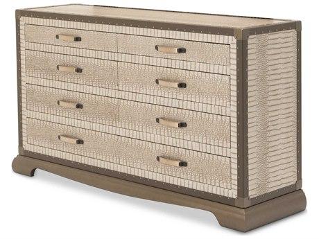 Aico Furniture Michael Amini Valise Amazon Tan Gator Vinyl Six-Drawer Double Dresser AIC9026650110