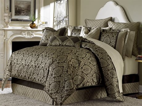 Aico Furniture Michael Amini Victoria Palace Imperial Bronze Ten-Piece King Comforter Set AICBCSKS10IMPERLBRZ
