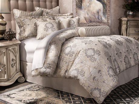 Aico Furniture Michael Amini Villa Di Como Sycamore Grove Silver Ten-Piece King Comforter Set AICBCSKS10SYMRGSLV