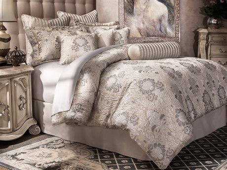 Aico Furniture Michael Amini Villa Di Como Sycamore Grove Nine-Piece Queen Comforter Set AICBCSQS09SYMRGSLV