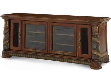 Aico Furniture Michael Amini Villa Valencia Classic Chestnut 76''W x 24''D Rectangular Entertainment Console AIC72095B55
