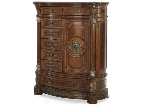 Aico Furniture Michael Amini Villa Valencia Classic Chestnut Eight-Drawer Gentlemen Chest of Drawer AIC7207055