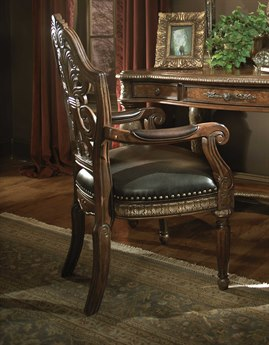 Aico Furniture Michael Amini Villa Valencia Classic Chestnut Writing Desk Chair AIC7204455