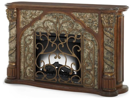 Aico Furniture Michael Amini Villa Valencia Classic Chestnut Fireplace AIC7222055