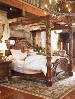 Aico Furniture Michael Amini Villa Valencia Classic Chestnut Eastern King Size Poster Bed with Canopy AIC72000EKCAN55